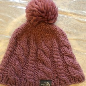 North Face Girls Knitted Hat with Pom Pom